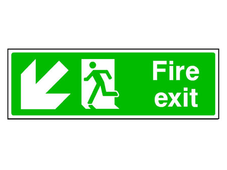 Fire Exit Down Left Arrow