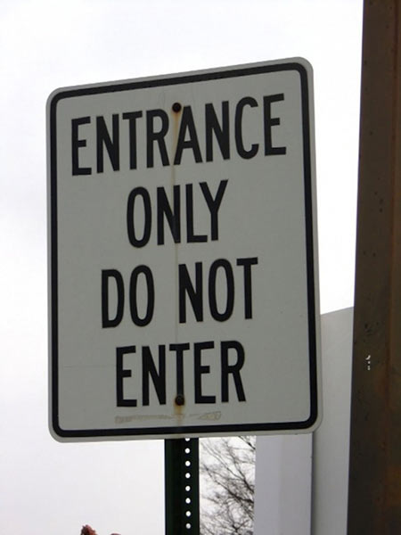 confusing entrance sign