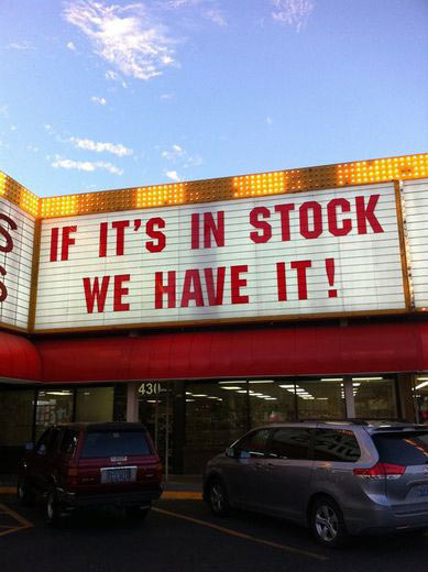 Confusing in stock sign