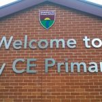 Amesbury CE Primary School steel sign close up